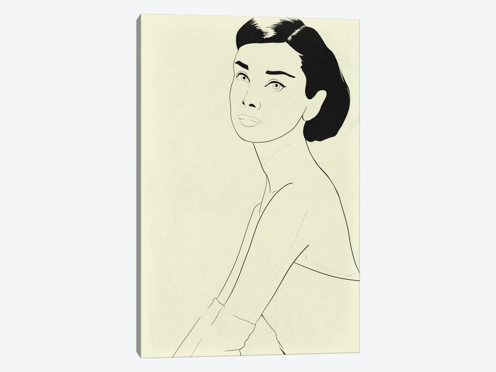 Audrey Hepburn Minimalist Line Art by 5by5collective 1-piece Canvas Wall Art
