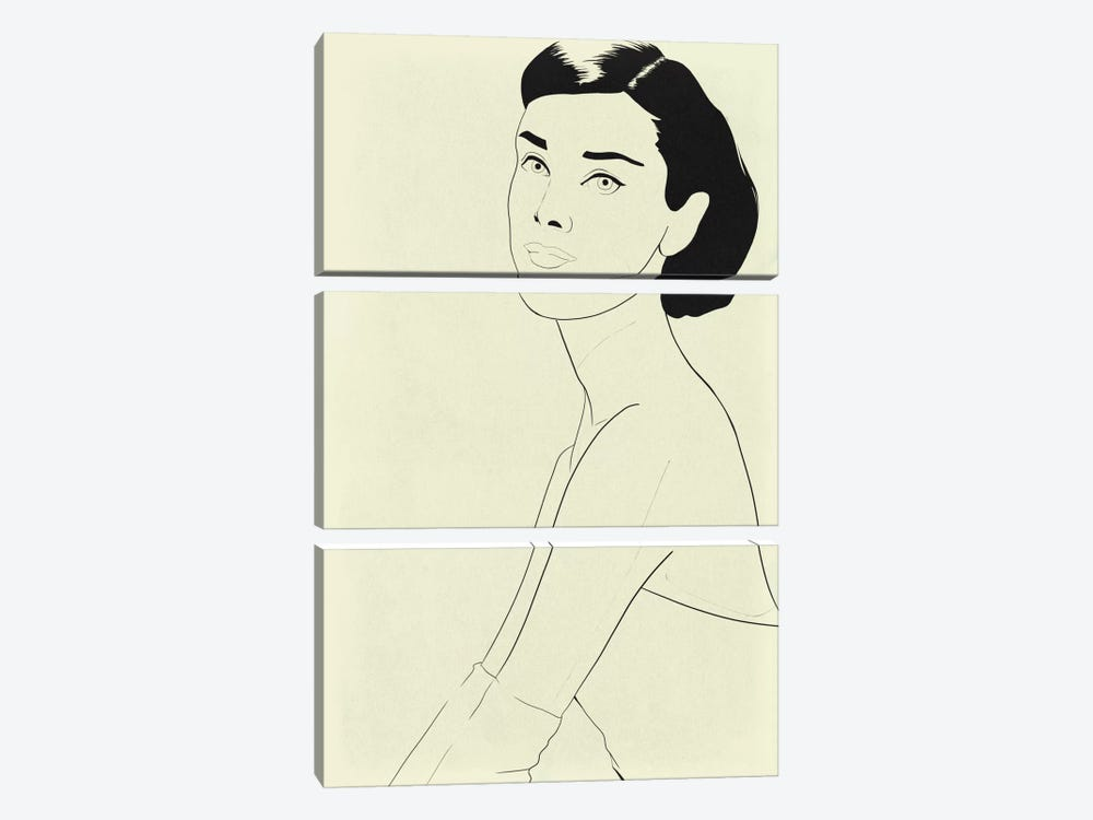 Audrey Hepburn Minimalist Line Art by 5by5collective 3-piece Canvas Artwork
