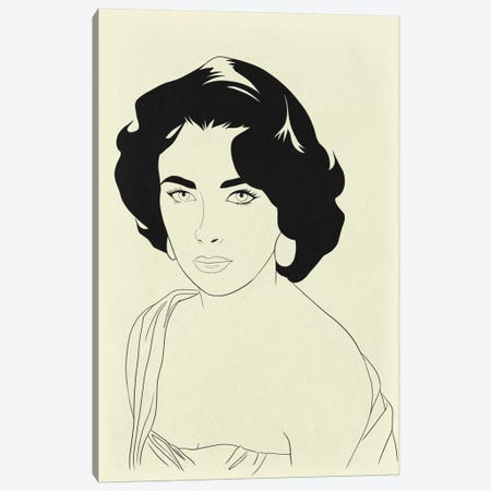 Elizabeth Taylor Minimalist Line Art Canvas Print #ICA775} by 5by5collective Art Print