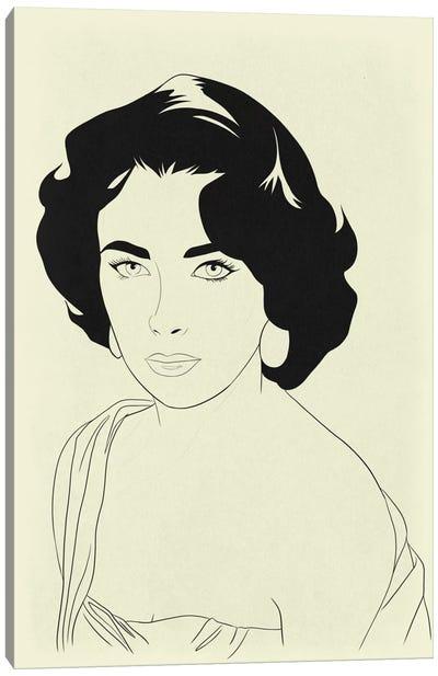Elizabeth Taylor Minimalist Line Art Canvas Print #ICA775