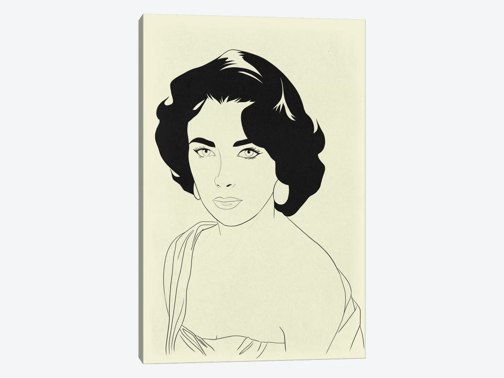 Elizabeth Taylor Minimalist Line Art by 5by5collective 1-piece Canvas Print