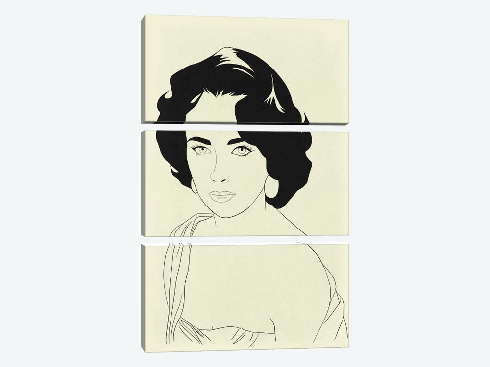 Elizabeth Taylor Minimalist Line Art by 5by5collective 3-piece Canvas Art Print