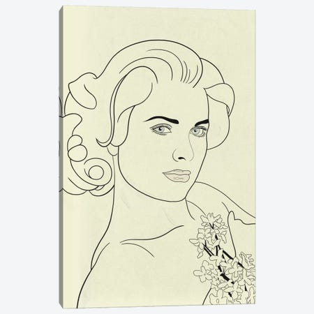 Grace Kelly Minimalist Line Art Canvas Print #ICA776} by 5by5collective Art Print