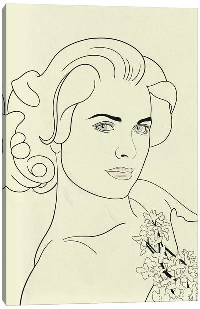 Grace Kelly Minimalist Line Art Canvas Art Print