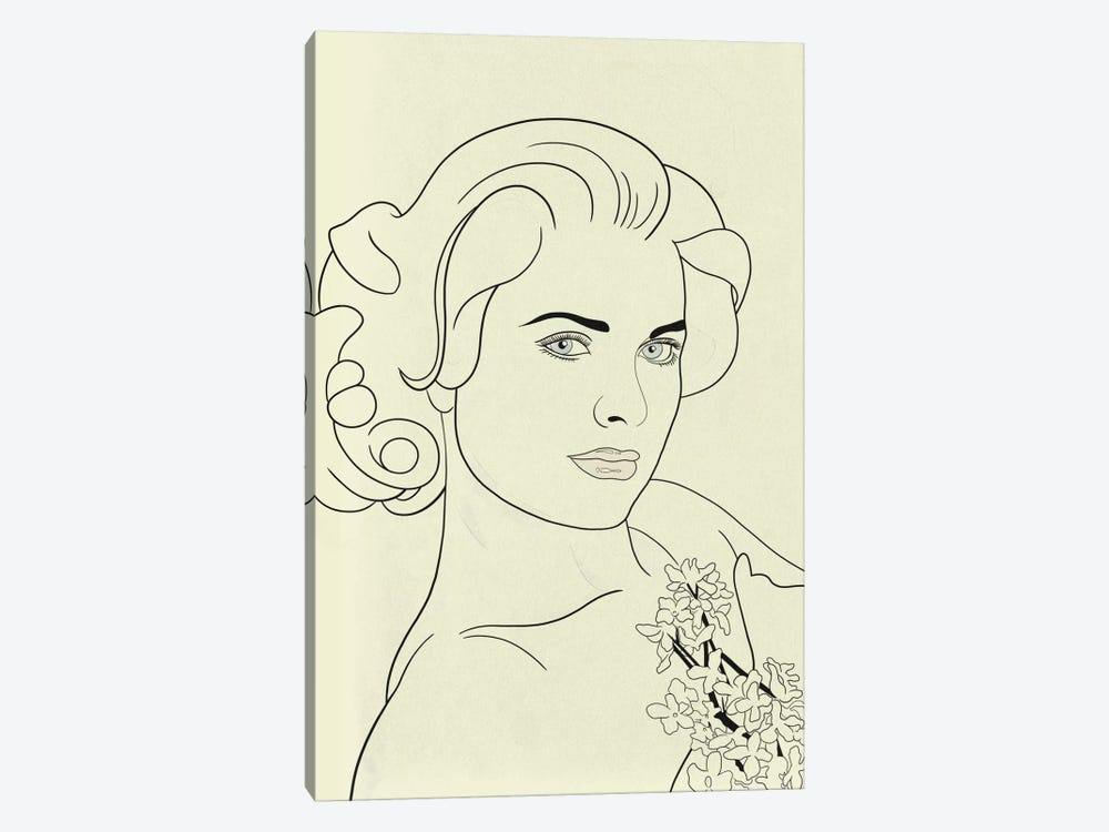 Grace Kelly Minimalist Line Art by 5by5collective 1-piece Canvas Art