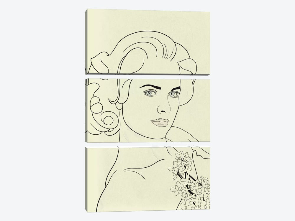 Grace Kelly Minimalist Line Art by 5by5collective 3-piece Canvas Wall Art