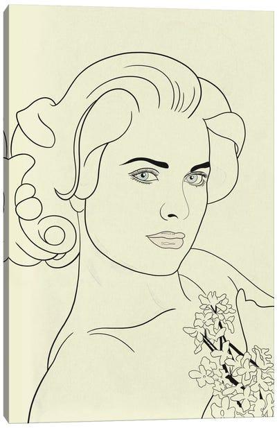 Grace Kelly Minimalist Line Art Canvas Art Print