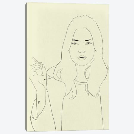 Kate Moss Minimalist Line Art Canvas Print #ICA777} by 5by5collective Art Print