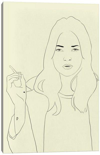 Kate Moss Minimalist Line Art Canvas Print #ICA777