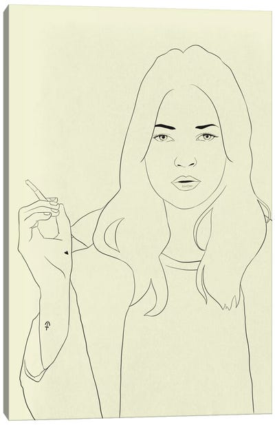 Kate Moss Minimalist Line Art Canvas Art Print
