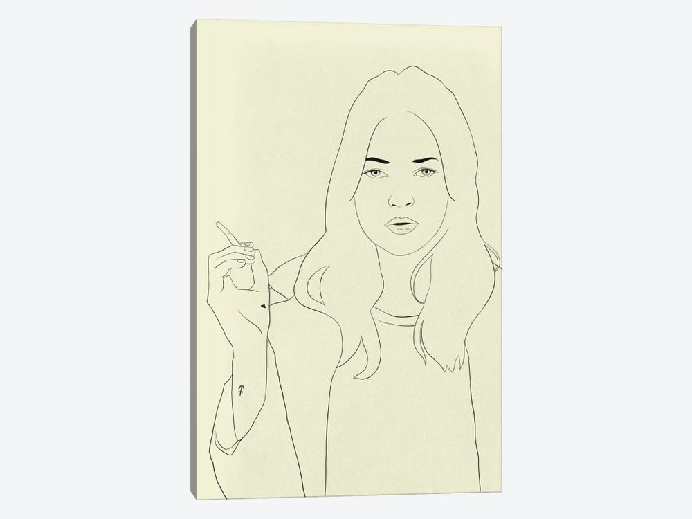 Kate Moss Minimalist Line Art by 5by5collective 1-piece Art Print