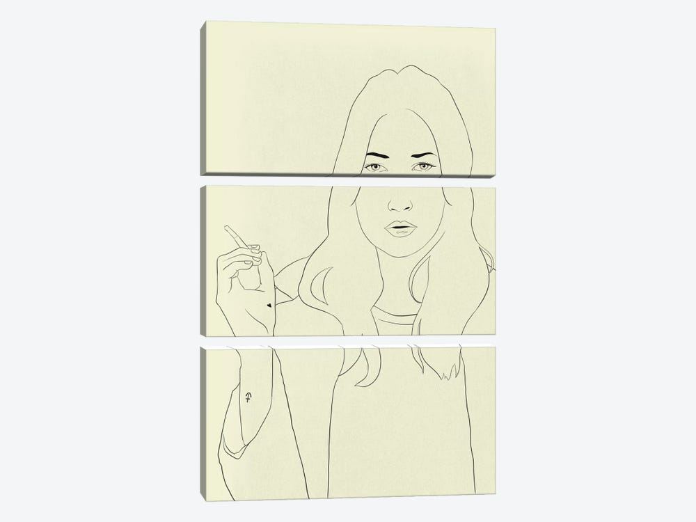 Kate Moss Minimalist Line Art by 5by5collective 3-piece Canvas Print