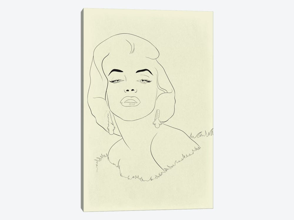 Marilyn Monroe Minimalist Line Art 1-piece Canvas Print
