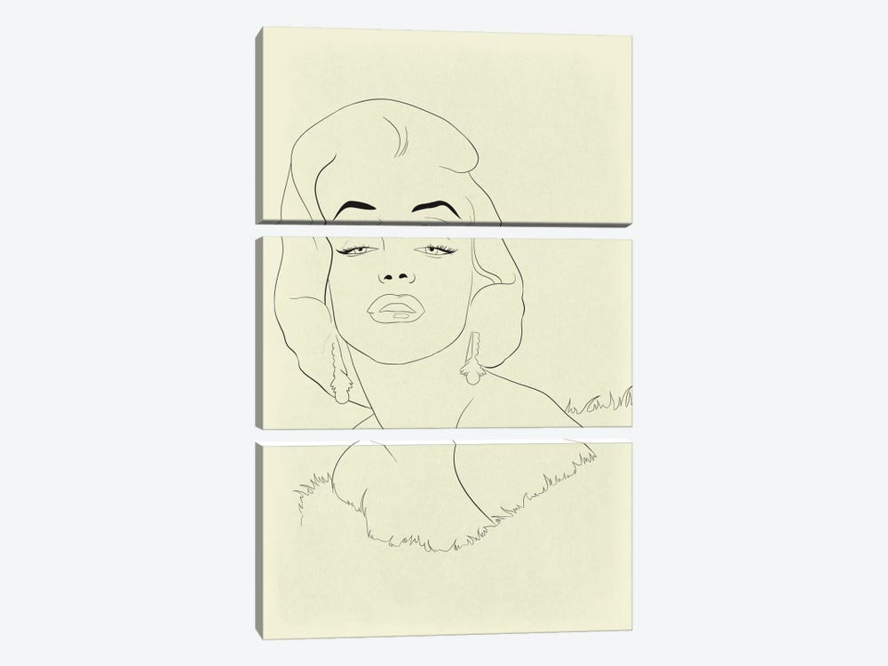Marilyn Monroe Minimalist Line Art by 5by5collective 3-piece Canvas Art Print