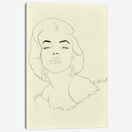 Marilyn Monroe Minimalist Line Art Canvas Print #ICA779} by 5by5collective Canvas Art
