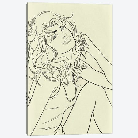 Farrah Fawcett Minimalist Line Art Canvas Print #ICA780} by 5by5collective Canvas Print