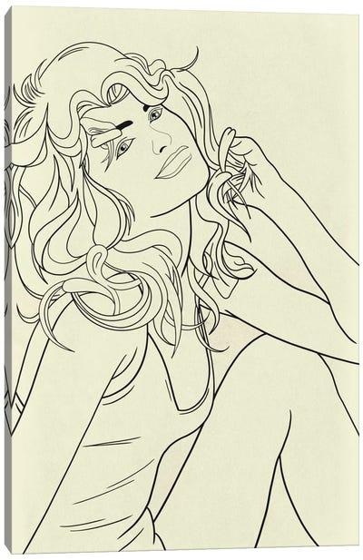 Farrah Fawcett Minimalist Line Art Canvas Art Print