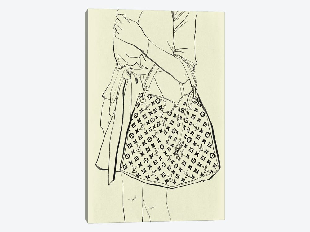 Bags Are My Weakness Minimalist Line Art by 5by5collective 1-piece Canvas Art Print