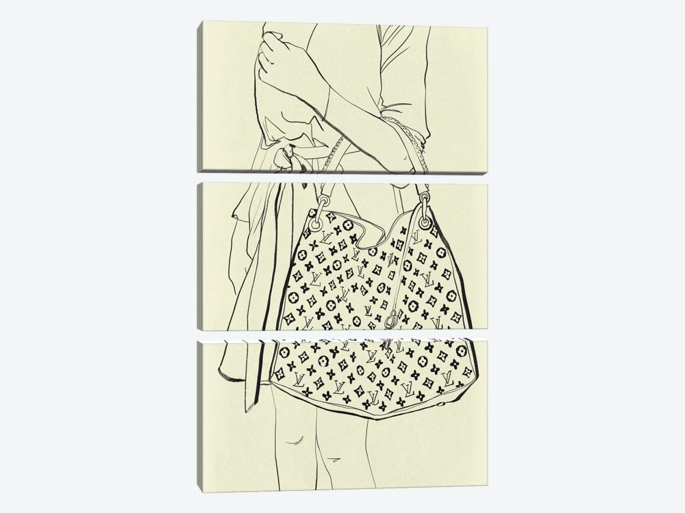 Bags Are My Weakness Minimalist Line Art by 5by5collective 3-piece Art Print