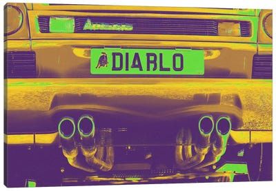 Neon Diablo Bull Canvas Art Print