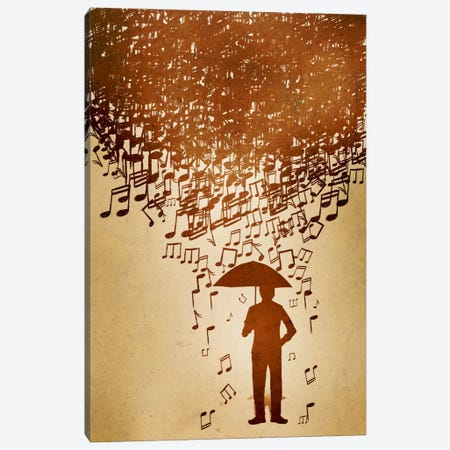 Raining Notes Canvas Print #ICA78} by Unknown Artist Canvas Artwork