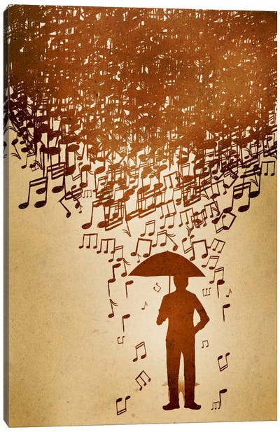Raining Notes Canvas Art Print