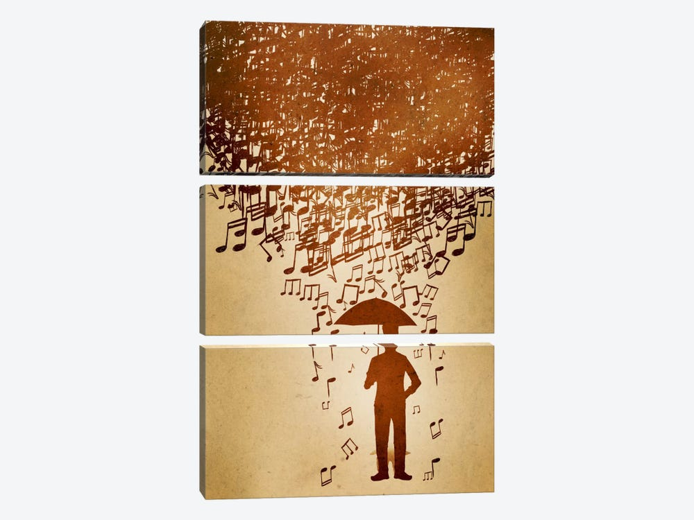 Raining Notes by Unknown Artist 3-piece Canvas Print