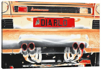 Burning Diablo Bull Canvas Art Print