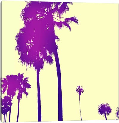 Midnight Purple Palms #2 Canvas Art Print
