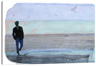 Strolling with Sea Gulls Canvas Art Print