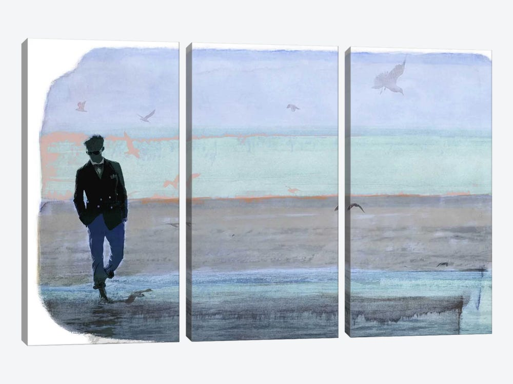 Strolling with Sea Gulls by 5by5collective 3-piece Canvas Artwork