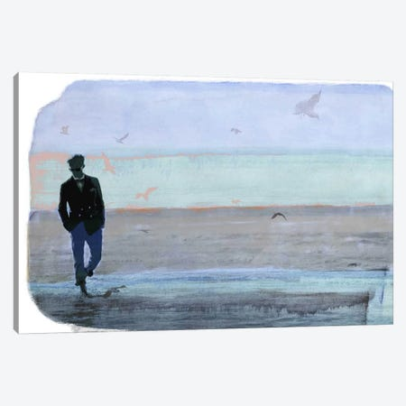 Strolling with Sea Gulls Canvas Print #ICA856} by 5by5collective Canvas Artwork