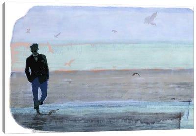Strolling with Sea Gulls Canvas Art Print