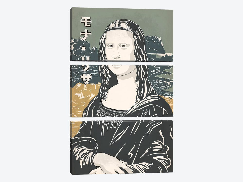 Japanese Retro Ad-Mona Lisa #1 by 5by5collective 3-piece Canvas Artwork