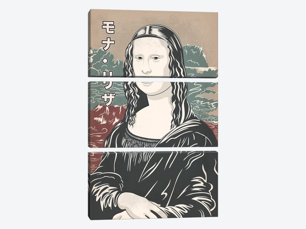 Japanese Retro Ad-Mona Lisa #2 by 5by5collective 3-piece Art Print