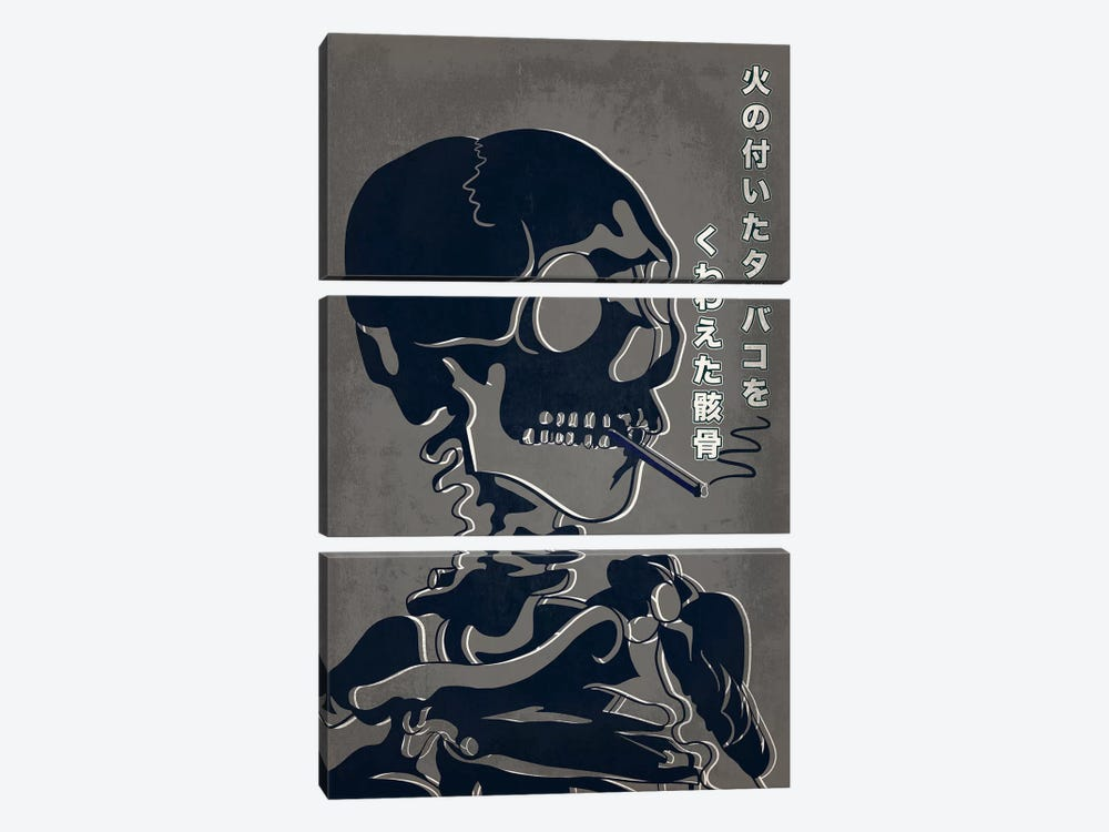 Japanese Retro Ad-Skeleton #1 3-piece Canvas Artwork