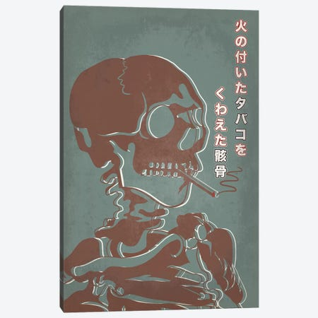 Japanese Retro Ad-Skeleton #2 Canvas Print #ICA888} by 5by5collective Canvas Artwork