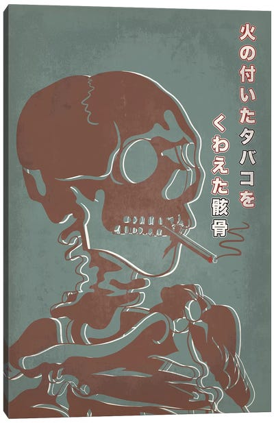 Japanese Retro Ad-Skeleton #2 Canvas Art Print