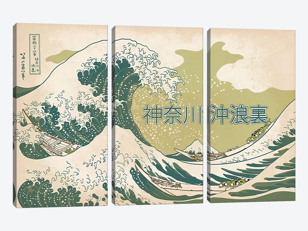 Japanese Retro Ad-The Great Wave #2 by 5by5collective 3-piece Canvas Print