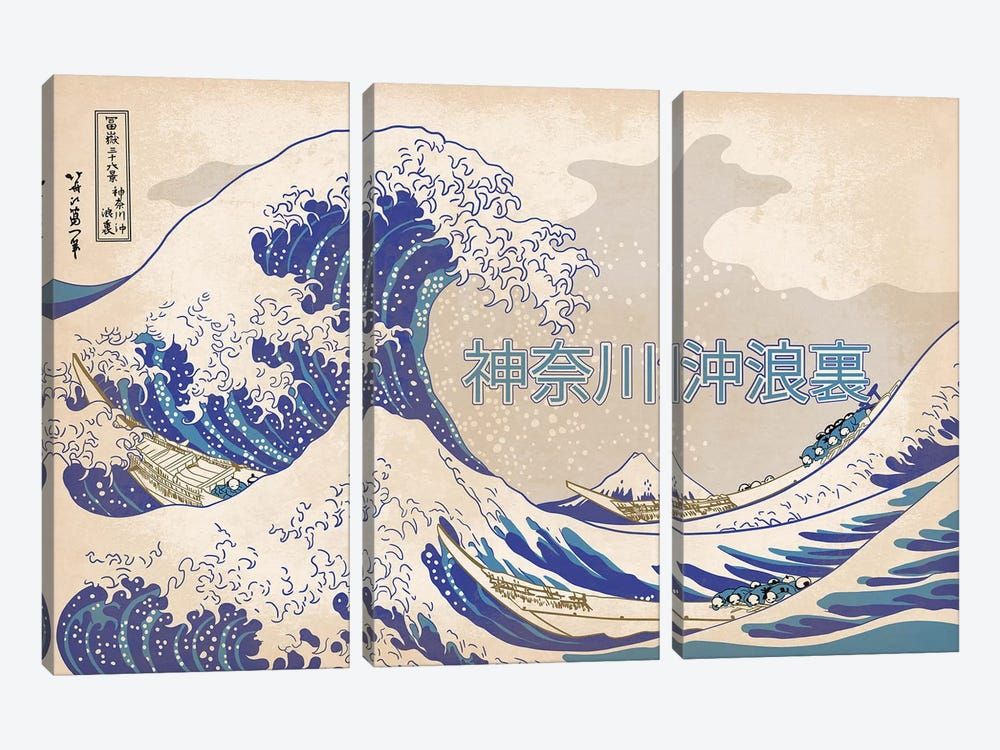 Japanese Retro Ad-The Great Wave by 5by5collective 3-piece Canvas Wall Art