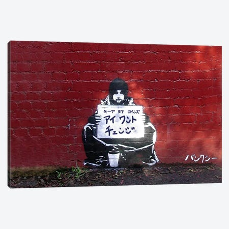 Japanese Banksy-I want Change Canvas Print #ICA893} by 5by5collective Art Print