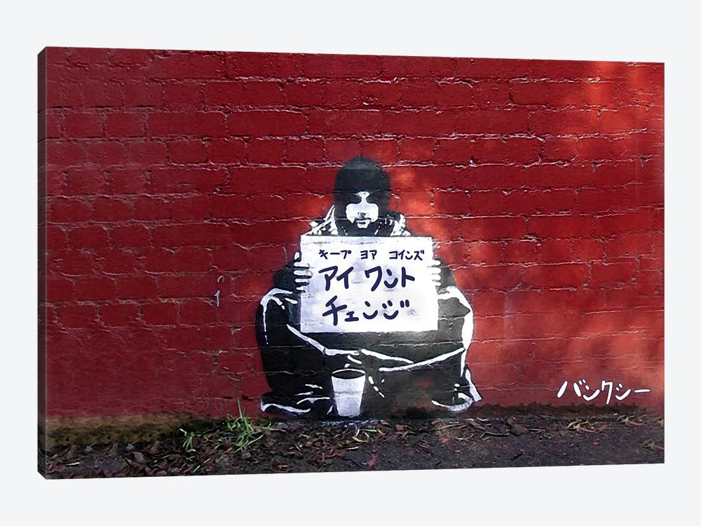 Japanese Banksy-I want Change by 5by5collective 1-piece Canvas Print