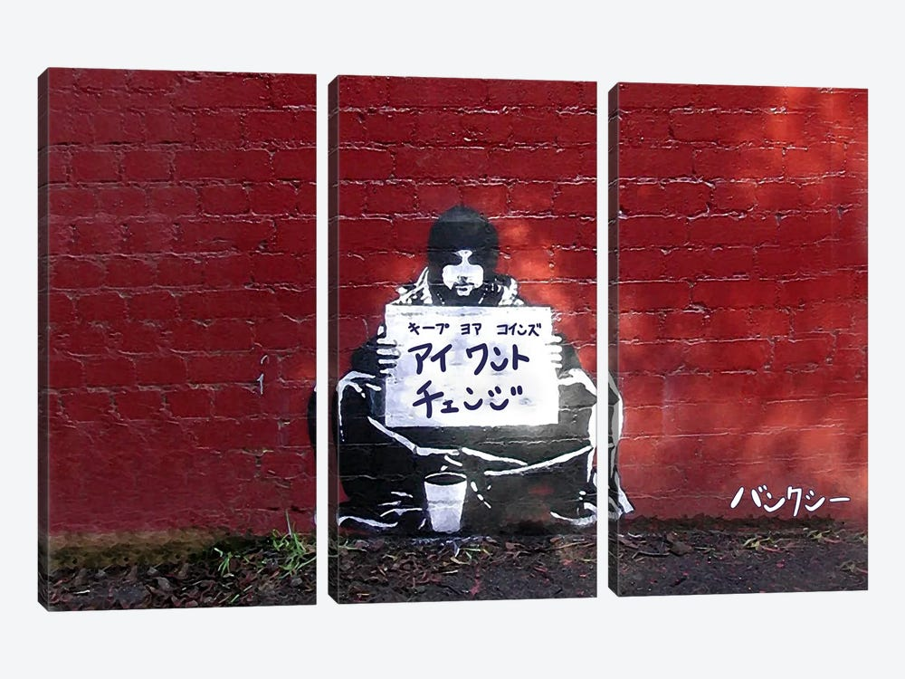 Japanese Banksy-I want Change by 5by5collective 3-piece Canvas Art Print