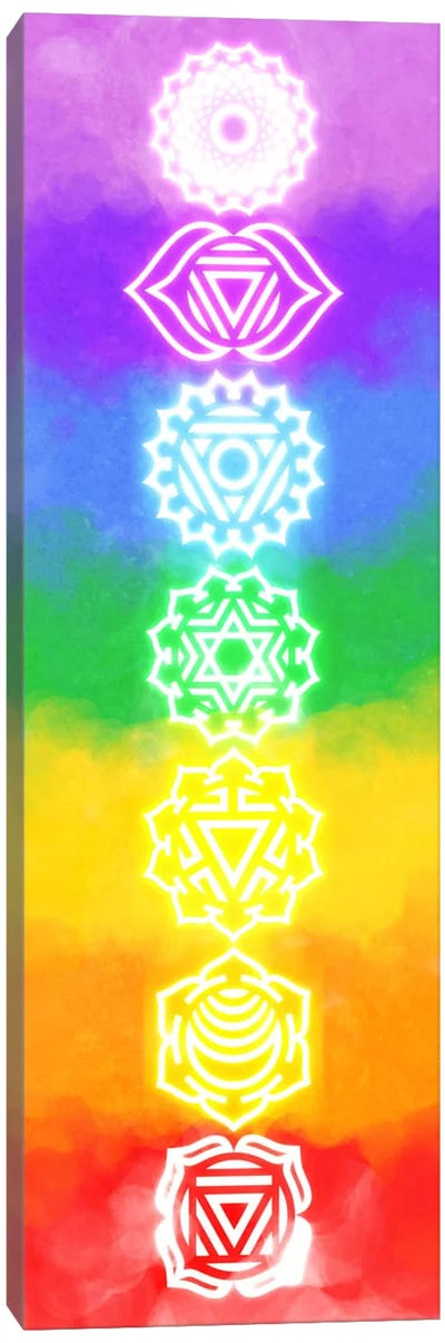 Neon Watercolor Chakras Canvas Print #ICA89