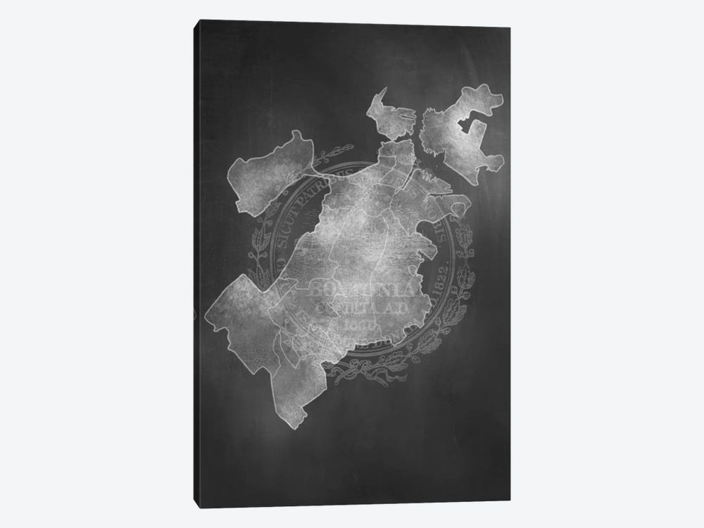 Boston Chalk Map by 5by5collective 1-piece Canvas Art Print