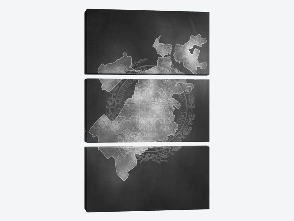 Boston Chalk Map by 5by5collective 3-piece Canvas Print