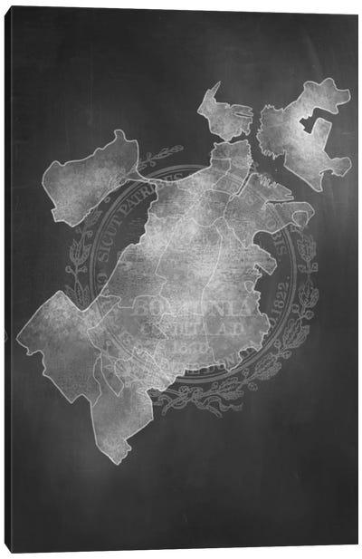 Boston Chalk Map Canvas Art Print