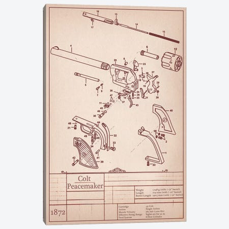 Colt Peacemaker Diagram Canvas Print #ICA928} by Unknown Artist Art Print