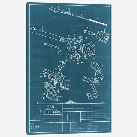 Colt Peacemaker Blueprint Diagram Canvas Print #ICA929} by iCanvas Art Print