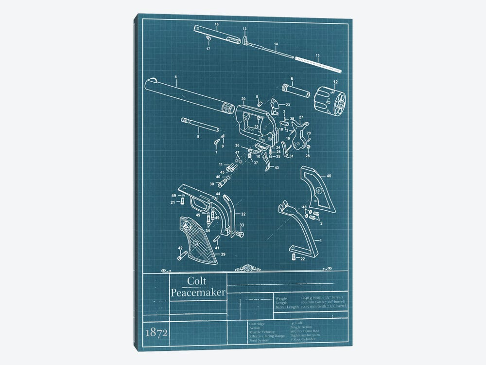 Colt Peacemaker Blueprint Diagram by Unknown Artist 1-piece Art Print